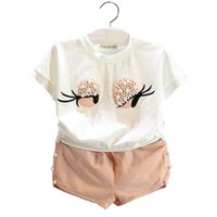Wholesale Pearl Neck Top - Girls Clothing Set Pearl Girls Clothes Set Lovely Long Eyelashes Toddler Girl tops + Pants Girls Suit Kids Clothes