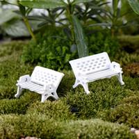 Wholesale Dollhouse Chairs - 8pcs white chairs fairy garden miniatures gnomes bonsai decoration micro landscape ornaments dollhouse decor