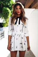 Wholesale White Print Dress Casual Tunic Women Autumn Style Cute Mini Dresses Ladies Long Sleeve Dragonfly Print Dress