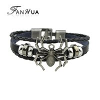 FANHUA Silver Color Spider Multilayer Bracelet Pu Leather Toggle-clasps Black Color Wrap Pulseiras para homens e mulheres Wristband