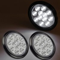 "Wholesale Led Stop Lights - 2pcs 4"" Round 12 LED White Marker Clearance Turn Stop Tail backup Reverse Marker Light w Flush Mount Free shipping"