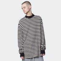 büyük boy gömlek stili toptan satış-Yeni Stil Çizgili Uzun Kollu T-Shirt erkek Yüksek Boyun Boy Uzun Casual Tees Kanye GD Tarzı Pist Gömlek Streetwear 100% Pamuk