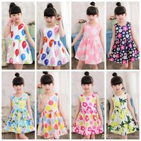 Wholesale Balloon Print Dress - Girls Beach Dresses Floral Flower Princess Dress Toddler Balloon Printed Dress Kids Sleeveless Knee-Length Sundress Cotton Kid Clothing H595