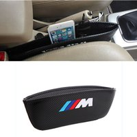 Wholesale Bmw Holder - Styling M logo Car Seat Side Storage Organiser Leak-Proof Seat Gap Holder Carbon Fiber for BMW X3 X5 X6 3 5 7 Series