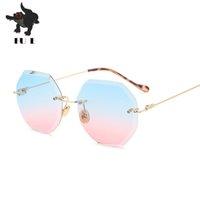 Wholesale Golden Trims - Fashion ladies sunglasses luxury brand designer multicolor diamond trimming sunglasses female frameless sunglasses UV400 RA163