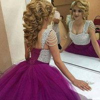 preciosos vestidos de noche morados mangas al por mayor-Precioso Shinning Beaded Prom Dresses 2018 Cap Sleeves Purple Ball vestido de noche Vestidos de encaje hasta la espalda Quinceanera Dress Women Formal Wear