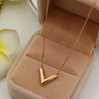 Wholesale V Shape Gold Necklace - Sale On Now Top Quality 316L Titanium steel Elegant Famous Brand V Shape Pendant Necklaces Jewelry Free Shipping PS4007