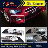 Wholesale Led Drl Lancer - Free shipping ! 12V 6000k LED DRL Daytime running light for Mitsubishi Lancer 2009-2014 fog lamp frame Fog light Car styling