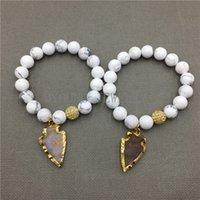 Wholesale Howlite Semi Precious Stones - MY0531 White Howlite Created Jaspers Arrowhead Bracelet Semi-Precious Stone Beads Bracelet pulseira feminina