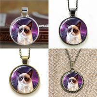 Wholesale cats bookmarks resale online - 10pcs rumpy Cat meme in space pendant Necklace keyring bookmark cufflink earring bracelet
