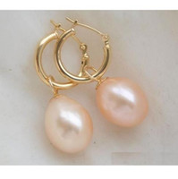 Wholesale Rice Earrings - Beautifully AAA 10*12mm rice type South Sea Pink Pearl Earrings 14K Gold