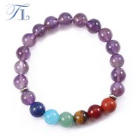 TL Purple Crystal Rainbow 7 Pulseira Chakra Yoga 8 milímetros Pulseiras de cura natural Pure Crystal Mala Beads Fashion Design Bracelets
