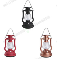 Wholesale Solar Lights Outdoor Hanging Lantern - NEW Solar Cells Panel Lantern Lamp 7 LED Bright Light Lamp Hand Crank Portable Outdoor Hanging Lamps Hiking Camping Fishing Lights MYY