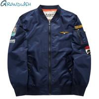 Wholesale Mens Flight Jackets - Wholesale- Grandwish Ma-1 Flight Bomber Jacket Men 6XL Patches Men Pilot Bomber Jacket Patch Design Bomber Jacket Mens ,PA868