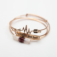 Wholesale cupids arrow jewelry resale online - Fashion Bracelets Follow Your Heart Charm Bracelets Natural Stone Cupid Arrow Cuff Bracelets Fashion Jewelry Sets