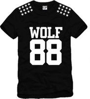 Wholesale Wolf Point - Chinese Size S--XXXL wolf88 Wolf 88 Tshirt five pointed star + wolf print exo tee KPO long sleeve t shirt 100% Cotton 6 color Free shipping