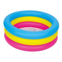 piscinas infantis infláveis venda por atacado-Atacado-colorido 3 anel piscina 76x25cm, jogo de verão colorido, piscina inflável do bebê, piscina infantil, cor como arco-íris, azul, amarelo, vermelho