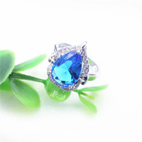 Wholesale Lady Ring Green Stone - silver 925 ring The pear-shaped polyoppa stone color sapphire ladies party wedding banquet presents pure silver 925 ring 6 7 8 9 10