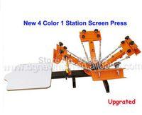 Wholesale T Shirts Screen Printing Machine - New Upgraded 4 color 1 station Silk Screen Printing Machine t-shirt Printer Press equipment carousel Free Shipping