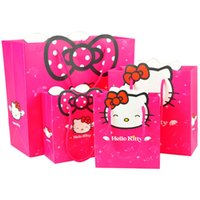 Wholesale Plain Paper Size - Wholesale- 3 size Gift bag Hello Kitty cartoon packing Environmental safety paper bag package for girls kid handbag present
