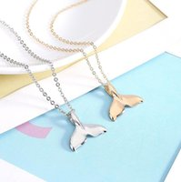 Wholesale Best Simple - Best gift New fashionable smoothtail fishtail pendant simple and lovely mermaid clavicle chain WFN619 (with chain) mix order 20 pieces a lot