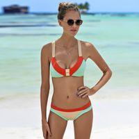 Wholesale Sexy Padded Beach Bikini - 2017 Sexy Women Three Color Patchwork Bikini Set Push Up Padded Swimsuit Beach Plus Size Triangle Swimwear Female Bathing Suit