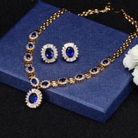 royal blue african jewelry set Australia - Wholesale Luxury and royal sapphire blue CZ diamond bridal dinner party wedding jewelry sets for women