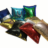 Wholesale Cheapest Decorative Pillow - The Cheapest Price! Sequin Mermaid Pillowcase Satin Pillowslip Double Color Sofa Sequins Cushion Decorative Pillow Cover wholesale