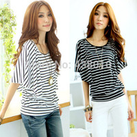 Wholesale Striped Shirt Womens - Wholesale- Hot New Fashion Womens summer Loose Striped Short Sleeve Crew Neck Casual T-Shirt tops