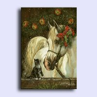 Wholesale High Quality Horse Oil Painting - Christmas white horse,Pure Hand Painted Animal Art Oil Painting On High Quality Canvas.customized size accepted art-sou