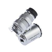 Wholesale Professional Loupe - 100set lot* 60X Zoom LED Mini Professional Microscope Pocket 60x Magnifier Handheld Jeweler LED Lamp Light Loupe