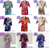 Wholesale Kimono Sleeve Robe Wholesale - 10Colors 7 Sizes Kids Girls Robe Satin Small Children Kimono Robes Bridesmaid Gift Flower Girls Dresses Silk Bathrobe Nightgown Kimono