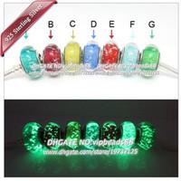 Wholesale Fluorescent Beads Bracelets - 7pcs S925 Sterling Silver jewelry fluorescent Murano Glass charms Beads Fit European pandora DIY Bracelets & Necklace