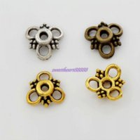 00pcs 9.9x9.9mm Antique Silver / Gold / Bronze Triangle Flower Dots Bead cap Jewelry Findings Components L1037 gros j ...
