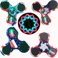 Wholesale Bulb Switch - Ship 1 Day + RGB led light hand spinners fidget spinner with On off Switch glow in the dark fidget spinner