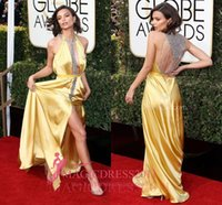 ouro amarelo vestidos de baile venda por atacado-Emily ratajkowski sexy amarelo sereia cetim frisado vestidos de noite de baile globos de ouro 2019 frisado formal celebridade vestido de festa vestidos