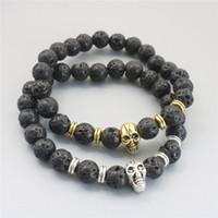 Wholesale Wholesale Gold Skull Bracelets - 2017 New 8mm Lava Rock Skull Bracelets & Bracelet Gold Silver Plated Bangles For Men & Women Gift