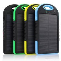 Wholesale Wholesale Portable Solar Panels - 5000mAh Solar Charger and Battery Solar Panel portable power bank for Cell phone Laptop Camera MP4 With Flashlight waterproof shockproof