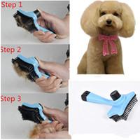 Wholesale Dog Brush Grooming Trimmer - Pet Dog Cat Hair Fur Shedding Trimmer Grooming Rake Professional Comb Brush Tool