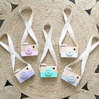 Wholesale Mini Travel Safe - 5colors Childrens Wooden Camera Christmas Kids cool travel Mini toy Baby cute Safe Natural Birthday Gift decoration Children's Room WD093