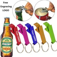 Wholesale Alloy Opener - New 200pcs key chain metal aluminum alloy keychain ring beer bottle opener Openers Tool Gear Beverage custom personalized pay extra