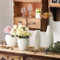 Wholesale Ceramic Vase Antique - Antique Ceramic Wedding Decorative Vase Modern White Ceramic Vase Artificial Flower TableTop Small Vase Wedding Decoration Vases