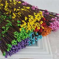 Wholesale Pink Green Flower Ring - Hot Sale 100pcs Diy Wedding Garland Artificial Flower Head Ring Pip Berry flower Stem DIY Wreath Flower Bead Acceorry