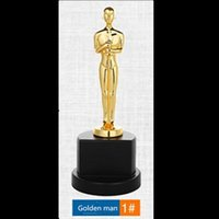 Wholesale Trophy Cups Metal - 1 pcs The Trophy Oscar statuette Gold man award cup Gold plated Metal Trophy 22.5 cm in height non magnetic medal badge gift DHL shipping