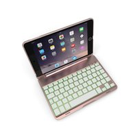 Wholesale Aluminum Bluetooth Keyboard Ipad Mini - New 7 Colors LED Backlit Whole Body Aluminum Bluetooth Keyboard With Protective Clamshell Smart Case Cover For iPad mini 4