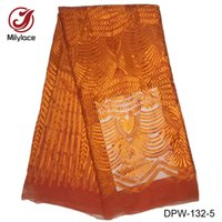Wholesale Lace Fabric Dress Yard - High quality nigerian style embroidery French lace fabric 5 yards wholesale and retail African lace fabric for women dress DPW-132