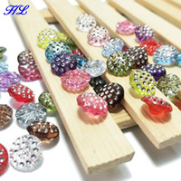 Wholesale Rhinestones Shank - HL 50pcs 12mm Mix color Acrylic Buttons Shank With Rhinestone Apparel Sewing Accessories DIY crafts B013