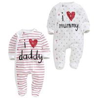 Wholesale I Love Mama Papa - Retail Baby Boy Girl onesies I Love Papa Mama Stripe Love Heart Long Sleeve Rompers Toddler Clothing HY165