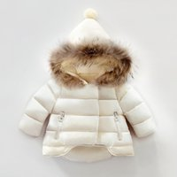 Wholesale Girls Real Fur Jackets - Winter New Children Warm Coat Real Racoon Fur Baby Boys Girls Clothing Outfit Cotton Padded Jacket Outwear Kids Hooded Clothes