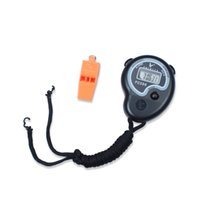 Wholesale Handheld Alarm Clock - Digital Stopwatch Sports Timer Stop Watch Time Alarm Clock With Whistles Gift Handheld